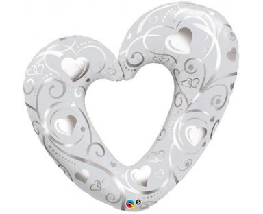 Pearl White Heart Shape Balloon 107 cm