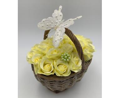 24 White Soap Roses