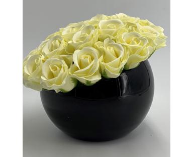 28 White Soap Roses in Vase