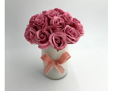 18 Soap Roses in Vase