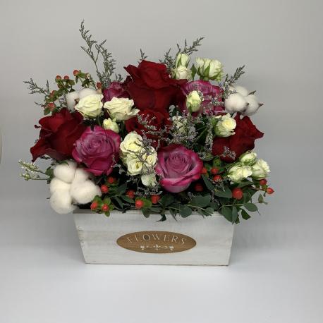 Flowers Arrangement in Wood Box