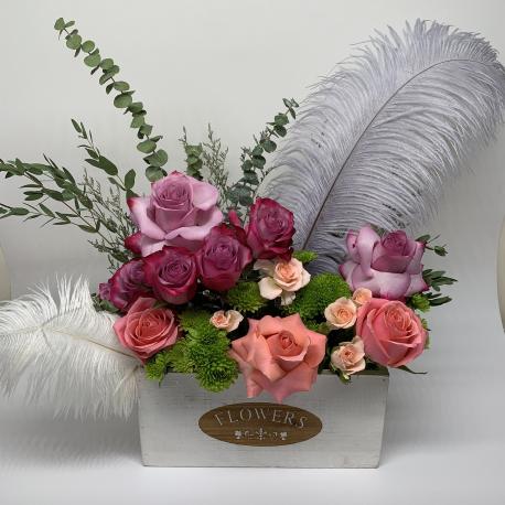 Flower Arrangement in Wood Box
