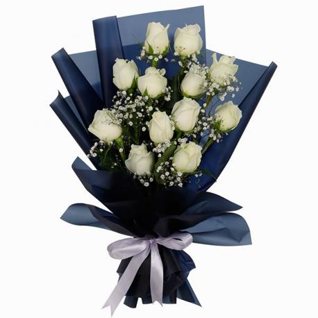 Designer Bouquet of 12 White Roses