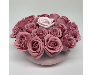 19 Pink Soap Roses in Vase
