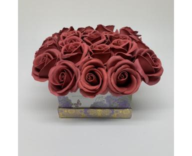 22 Maroon Soap Roses in Box