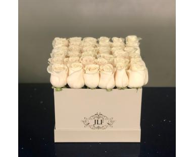 White Roses In Square Box