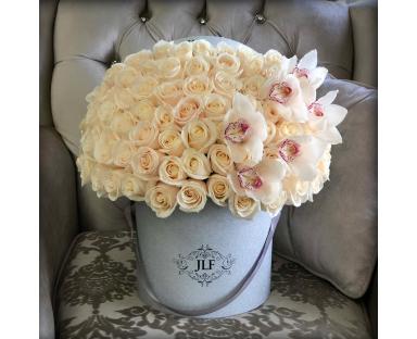 Signature 50 White Roses With Cymbidium Orchids