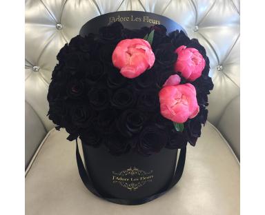 Signature Black Roses With Peonies