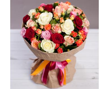 Multicolor Roses bouquet ''Brianna''
