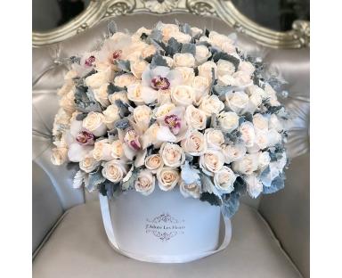 150 White Roses with Cymbidium