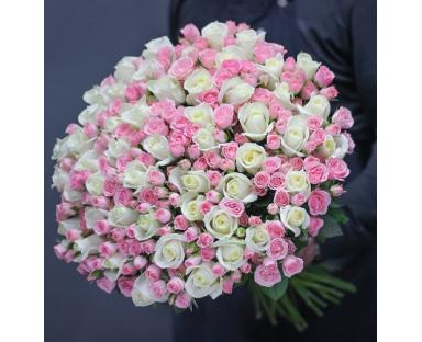 50 Spray Roses&50 White Roses