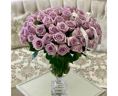 55 Purple Roses in Vase