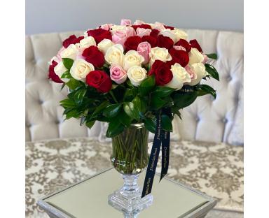 60 Multicolor Roses in Vase