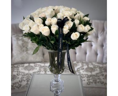 70 White Roses in Vase
