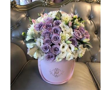 Purple Roses, White Eustoma, White Chrysanthemums, Pink Tulips Bouquet ''Lilah''
