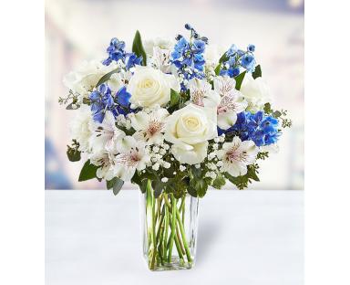 7 Roses 5 Carnations 7 Alstroemeria 7 Delphinium