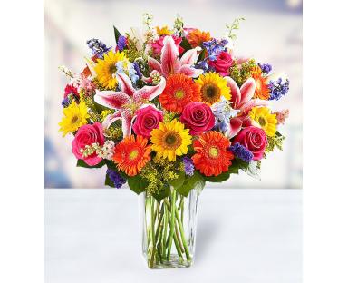 10 Helianthus 10 Roses 5 Lilies 10 Delphiniums 7 Gerberas