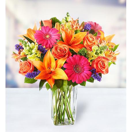 10 Roses 7 Lilies 5 Alstroemerias 5 Gerberas