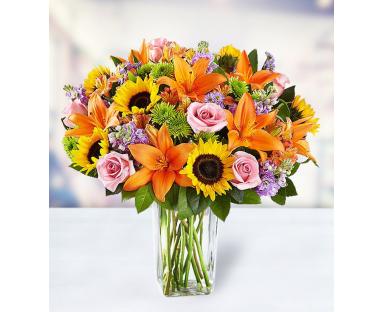 7 Roses 7 Lilies 5 Alstroemerias 7 Helianthus 7 Chrysanthemums