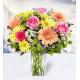 5 Roses 3 Gerberas 10 Chrysanthemums 5 Monte casino, 5 Delphiniums