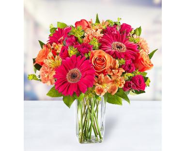 10 Roses 5 Carnations 5 Alstroemerias 5 Gerberas