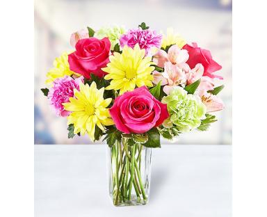 5 Roses 10 Carnations 3 Chrysanthemums 5 Alstroemerias