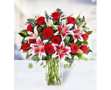 16 Roses 12 Lilies Eucalyptus