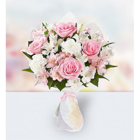 12 Roses 9 Carnations 12 Alstroemerias