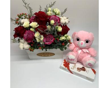 Flower Arrangement Chocolate and Bear